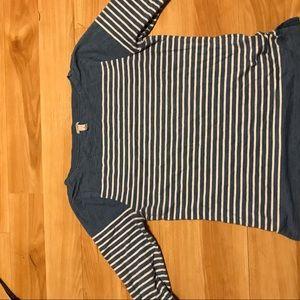 J crew nautical stripe boatneck long sleeve shirt
